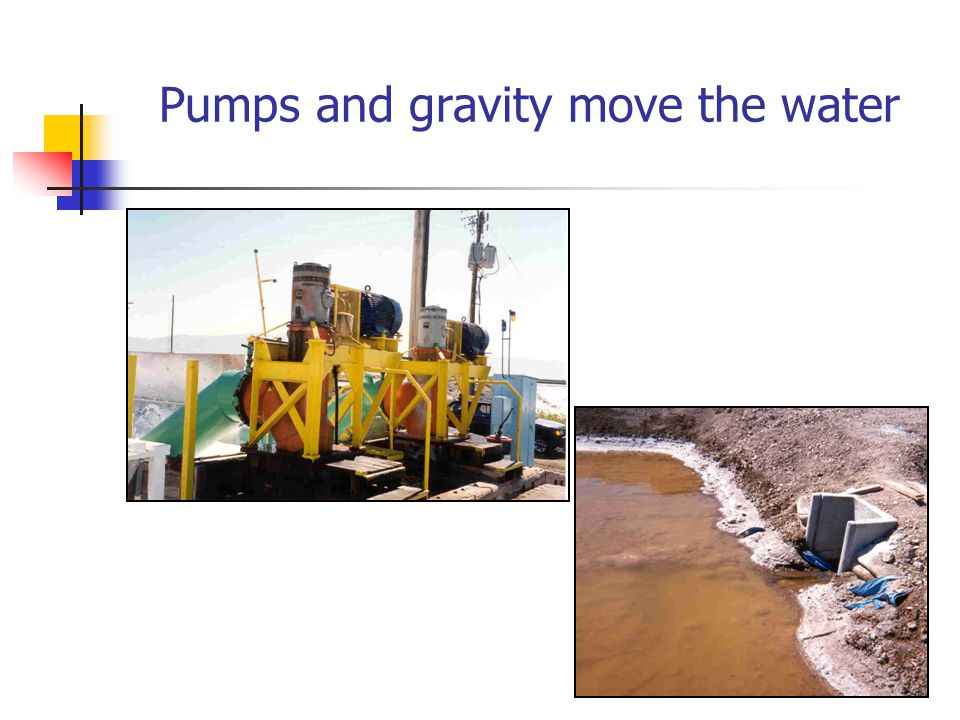 Pumps and gravity move the water