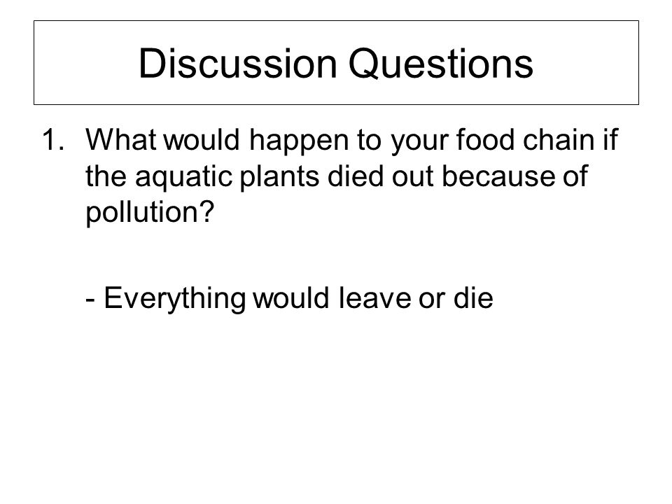 Discussion Questions What would happen to your food chain if the aquatic plants died out because of pollution
