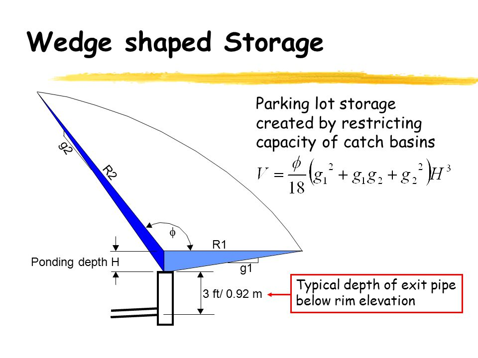 Wedge shaped Storage Parking lot storage created by restricting capacity of catch basins. g2. R2.
