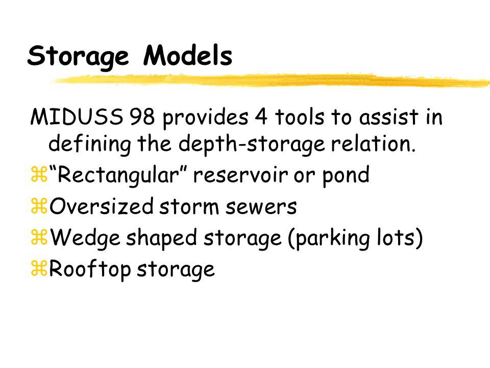 Storage Models MIDUSS 98 provides 4 tools to assist in defining the depth-storage relation. Rectangular reservoir or pond.