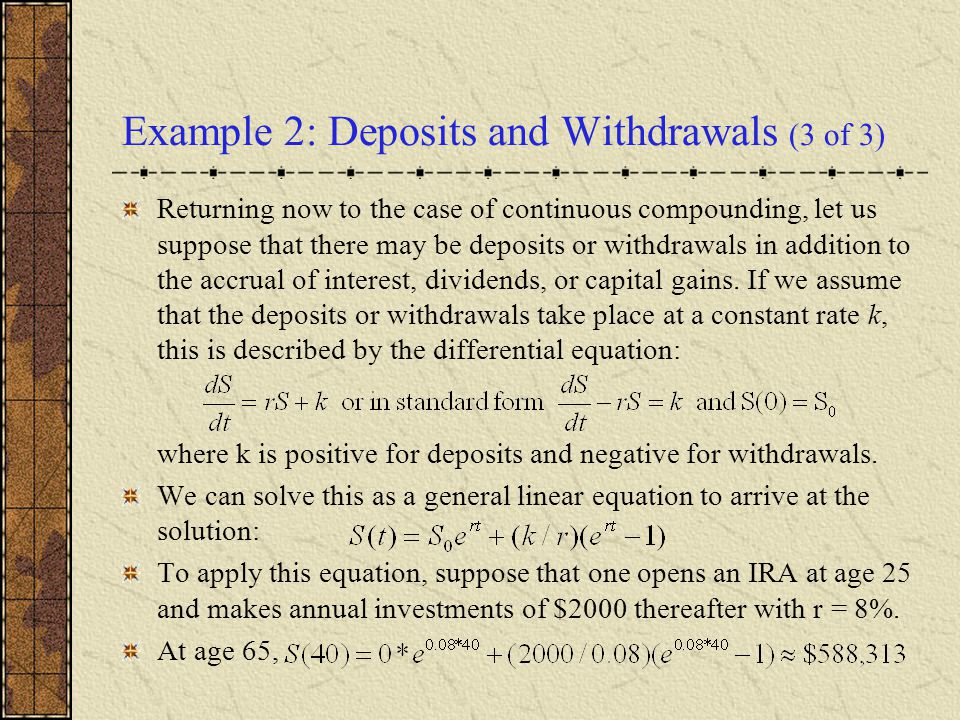 Example 2: Deposits and Withdrawals (3 of 3)
