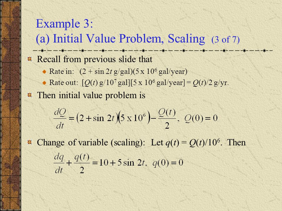 Example 3: (a) Initial Value Problem, Scaling (3 of 7)