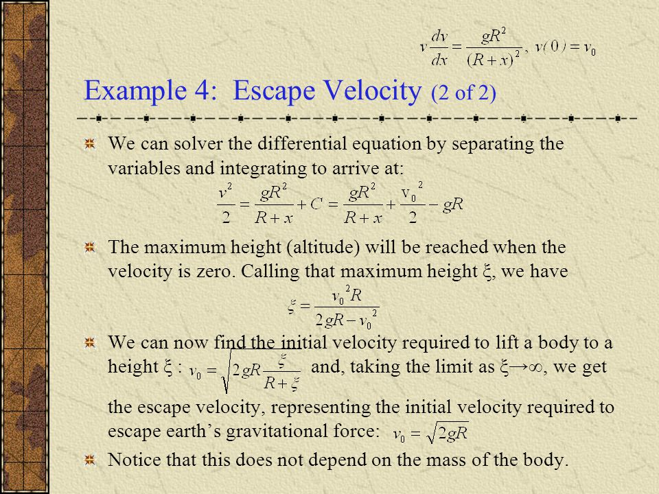 Example 4: Escape Velocity (2 of 2)