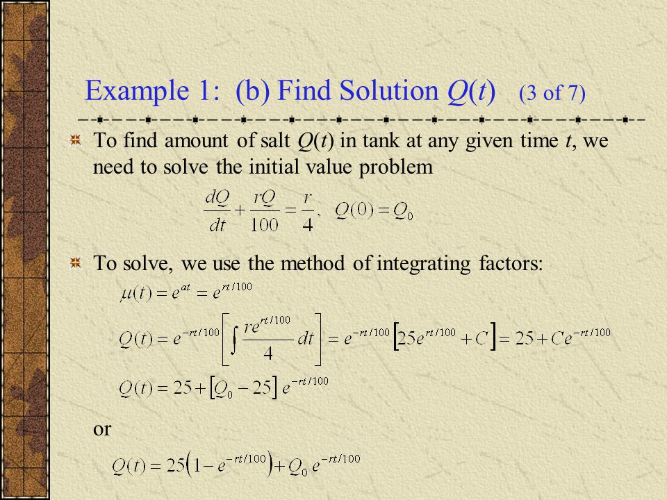 Example 1: (b) Find Solution Q(t) (3 of 7)