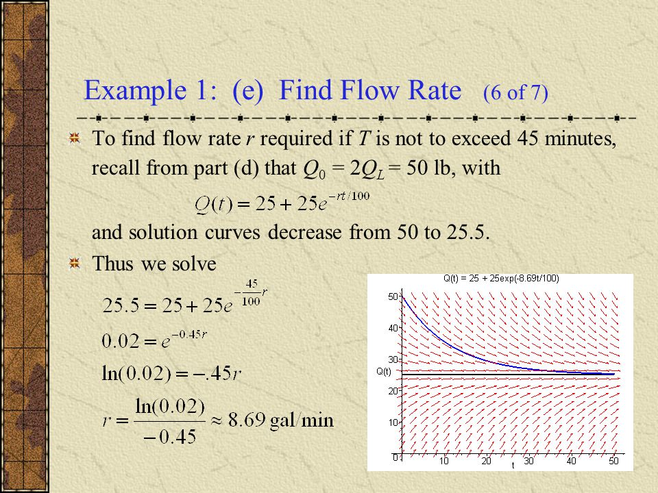 Example 1: (e) Find Flow Rate (6 of 7)