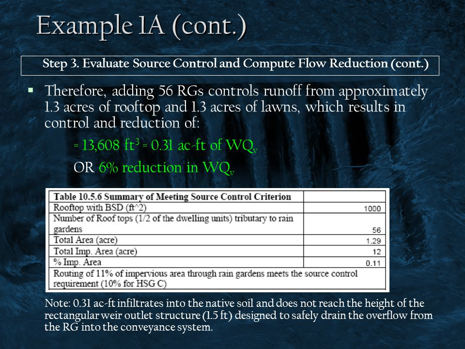 Example 1A (cont.) Step 3. Evaluate Source Control and Compute Flow Reduction (cont.)