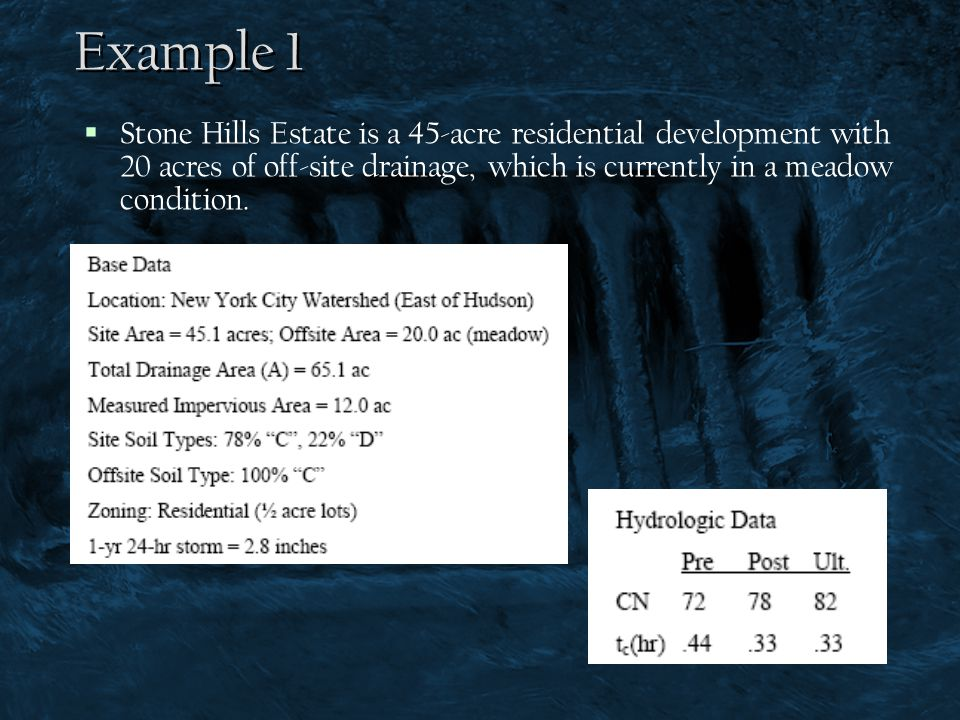 Example 1 Stone Hills Estate is a 45-acre residential development with 20 acres of off-site drainage, which is currently in a meadow condition.