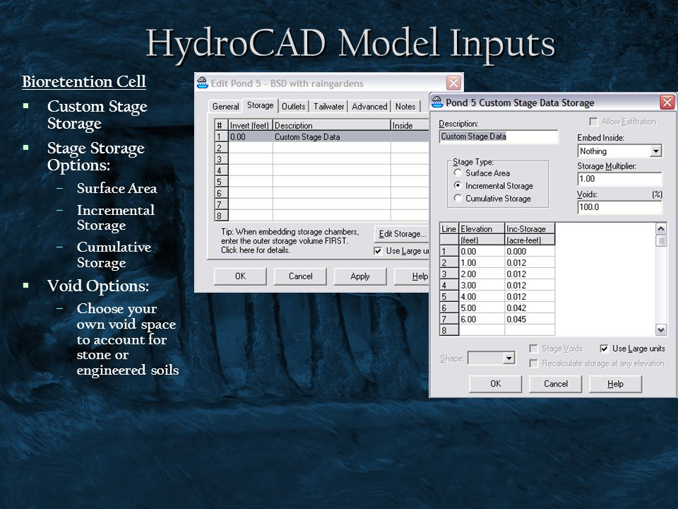 HydroCAD Model Inputs Bioretention Cell Custom Stage Storage
