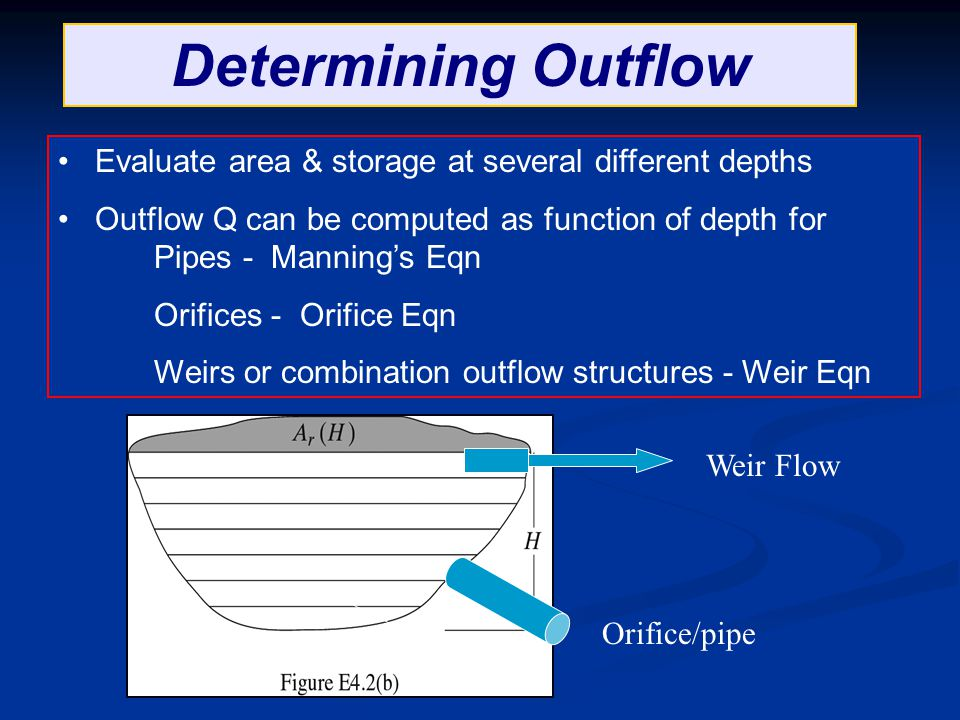 Determining Outflow Evaluate area & storage at several different depths. Outflow Q can be computed as function of depth for Pipes - Manning's Eqn.