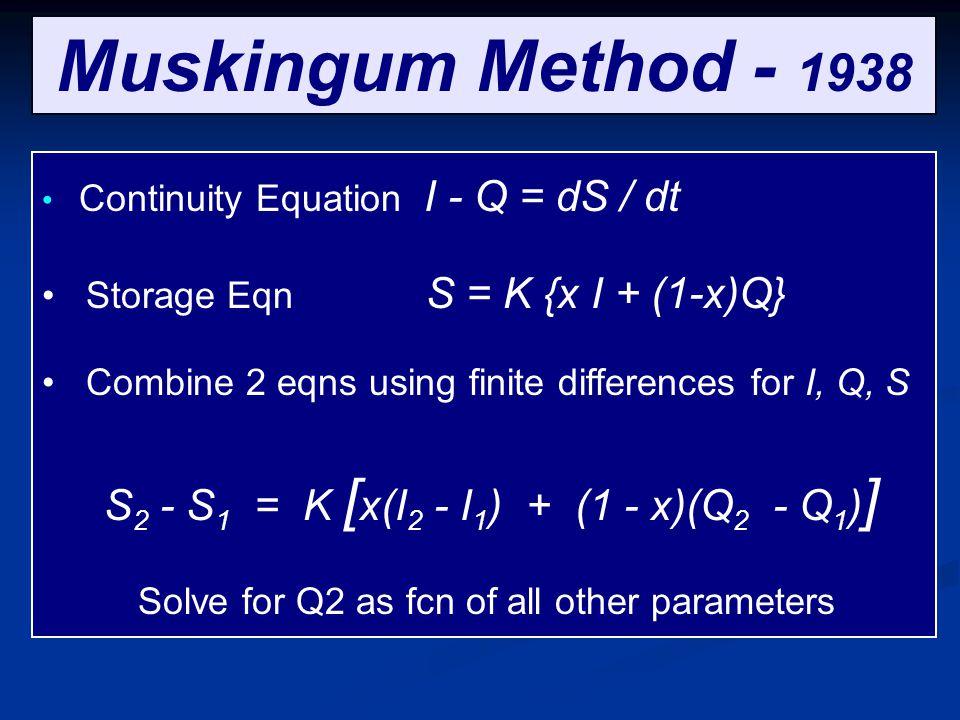 Muskingum Method - 1938 Storage Eqn S = K {x I + (1-x)Q}