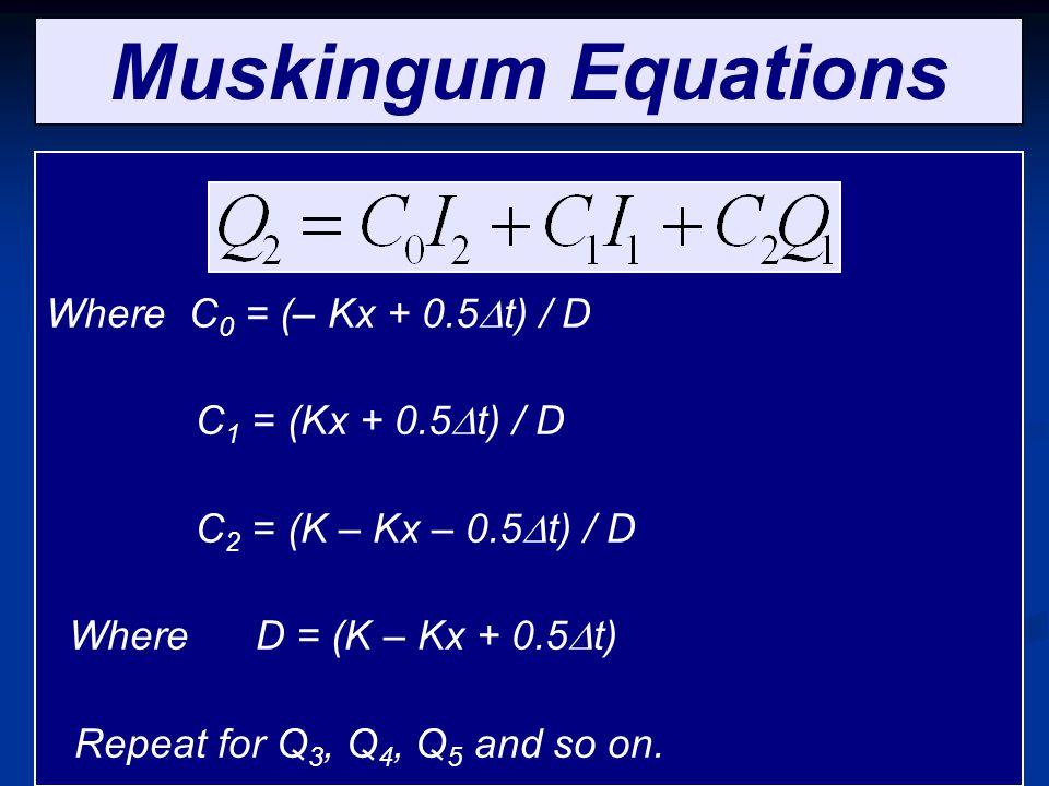 Muskingum Equations Where C0 = (– Kx + 0.5Dt) / D