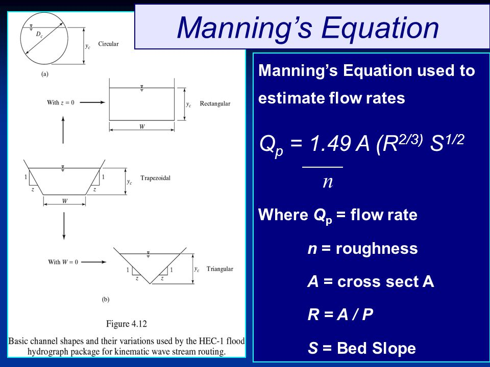 Manning's Equation Qp = 1.49 A (R2/3) S1/2 n