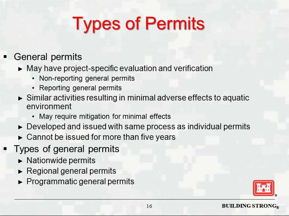 Types of Permits General permits Types of general permits