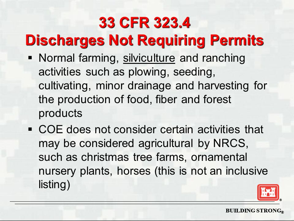 33 CFR 323.4 Discharges Not Requiring Permits