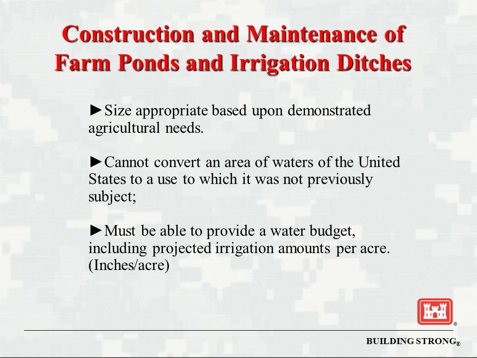 Construction and Maintenance of Farm Ponds and Irrigation Ditches