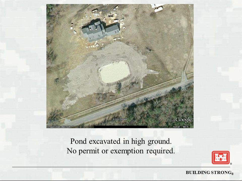 Pond excavated in high ground. No permit or exemption required.