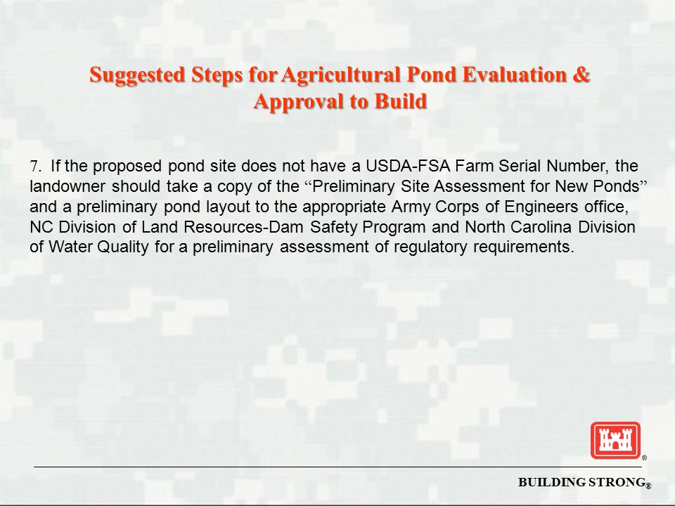 Suggested Steps for Agricultural Pond Evaluation & Approval to Build