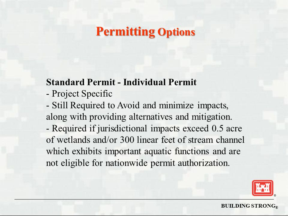 Permitting Options Standard Permit - Individual Permit