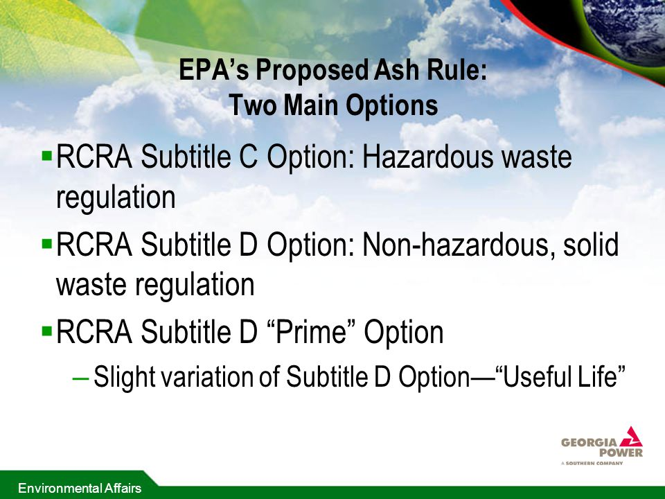 EPA's Proposed Ash Rule: Two Main Options