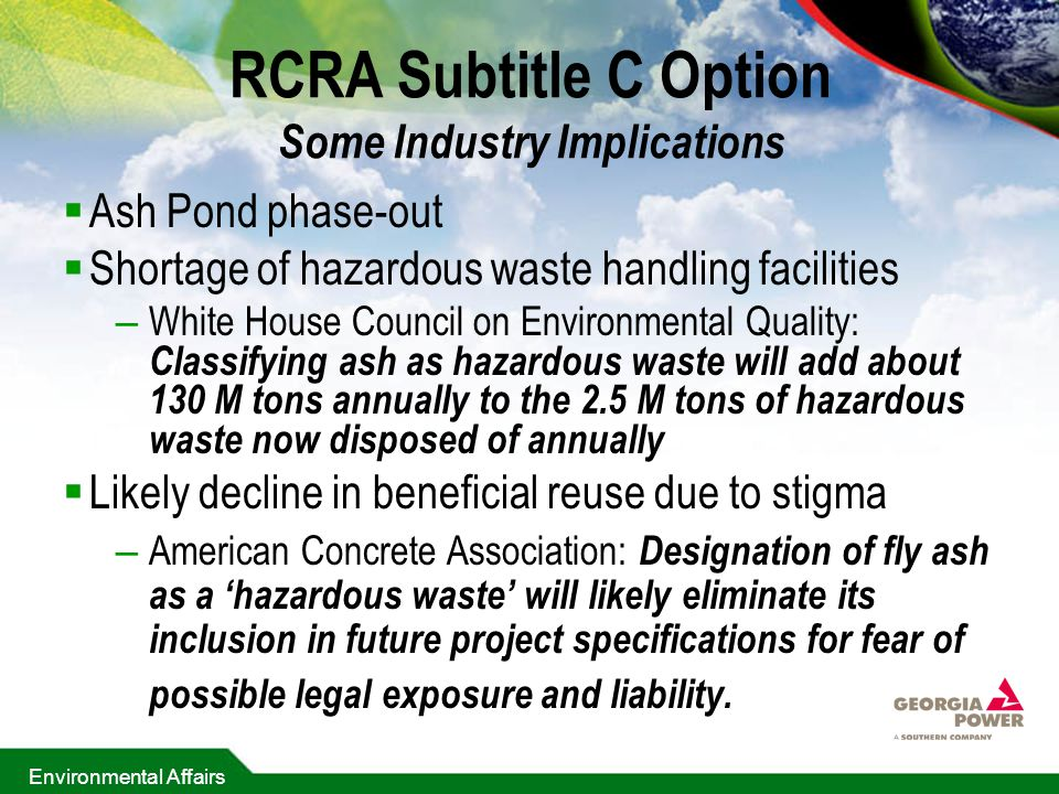 RCRA Subtitle C Option Some Industry Implications
