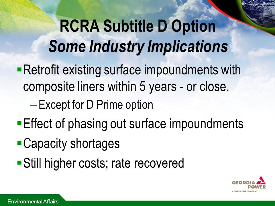 RCRA Subtitle D Option Some Industry Implications