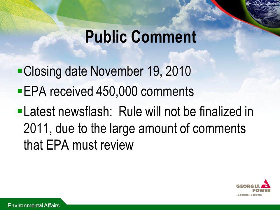 Public Comment Closing date November 19, 2010
