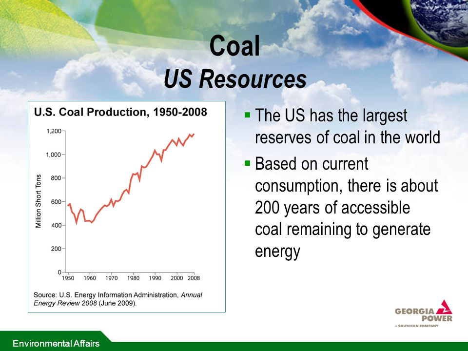 Coal US Resources The US has the largest reserves of coal in the world