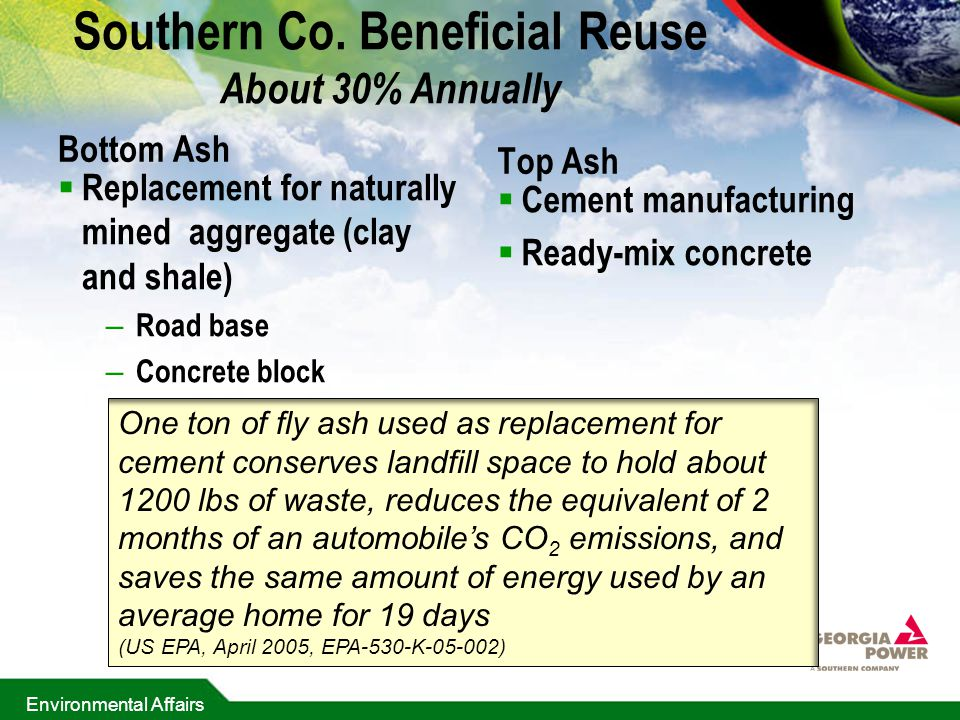 Southern Co. Beneficial Reuse About 30% Annually