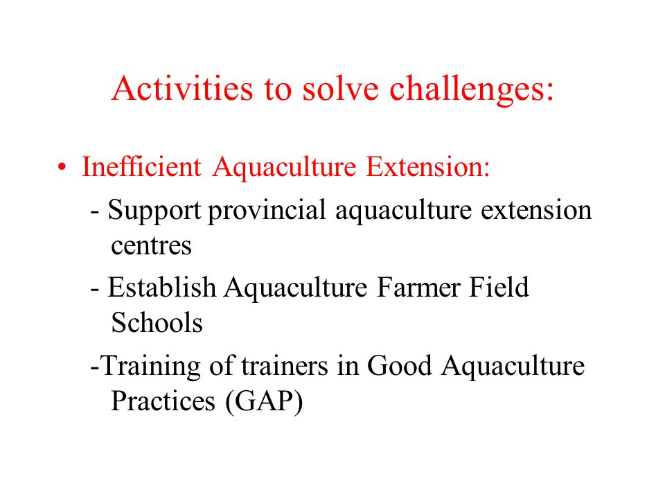 Activities to solve challenges: