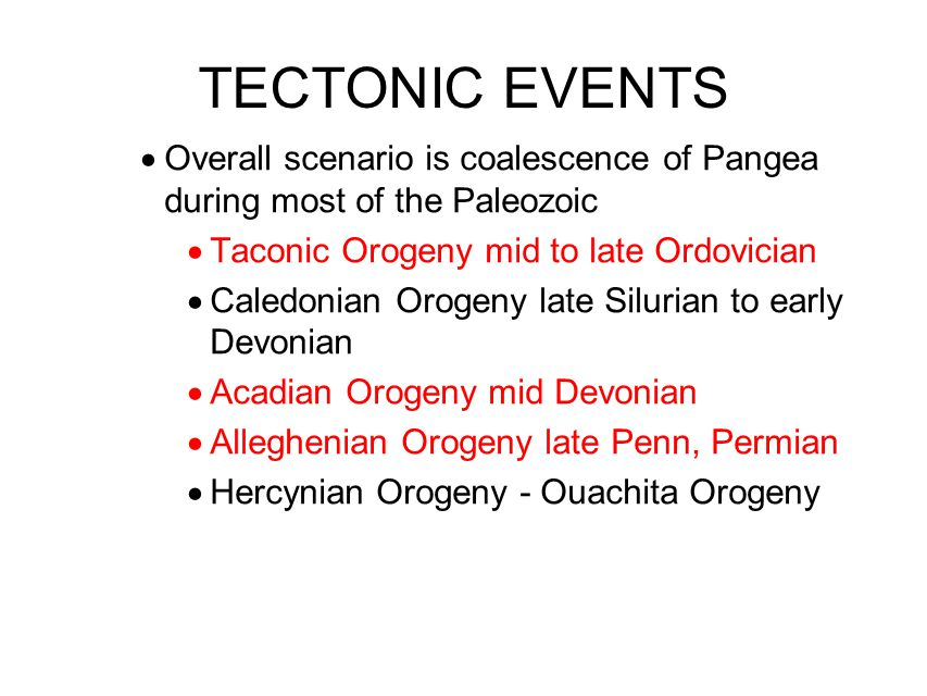 TECTONIC EVENTS Overall scenario is coalescence of Pangea during most of the Paleozoic. Taconic Orogeny mid to late Ordovician.