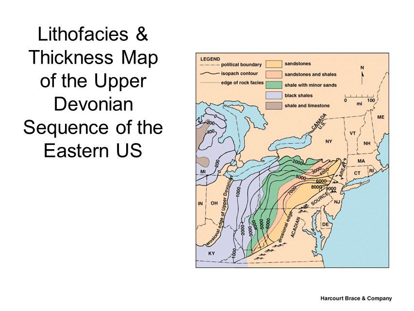Lithofacies & Thickness Map of the Upper Devonian Sequence of the Eastern US