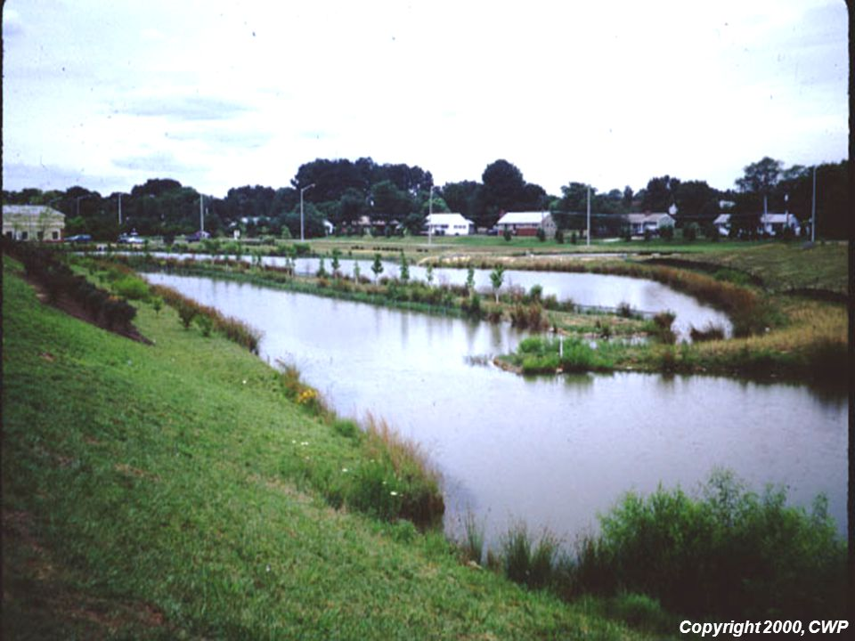 This slide shows an example of a multiple cell wet pond.