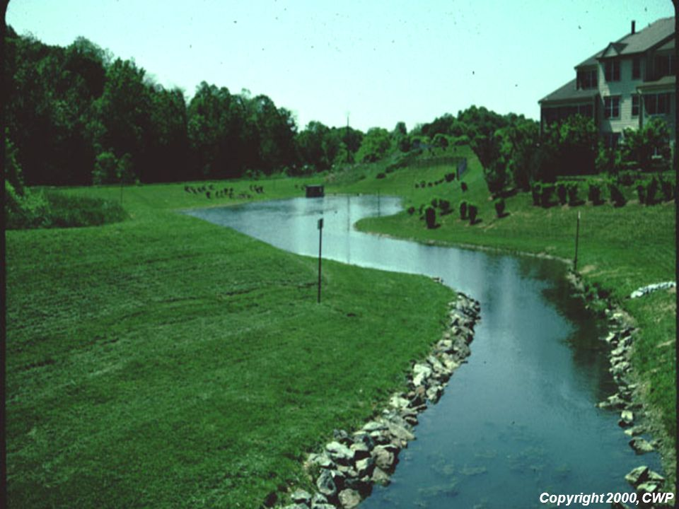 The long, narrow shape of this pond results in a long flow path, and increased time for settling to occur.