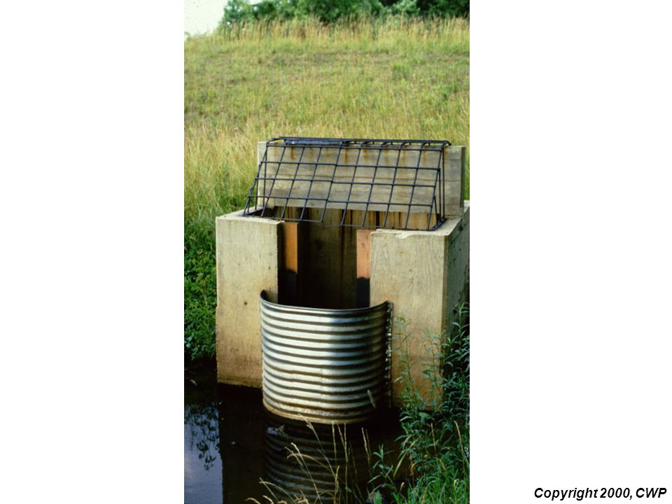 This slide shows a weir outlet structure with a half-round CMP hood.