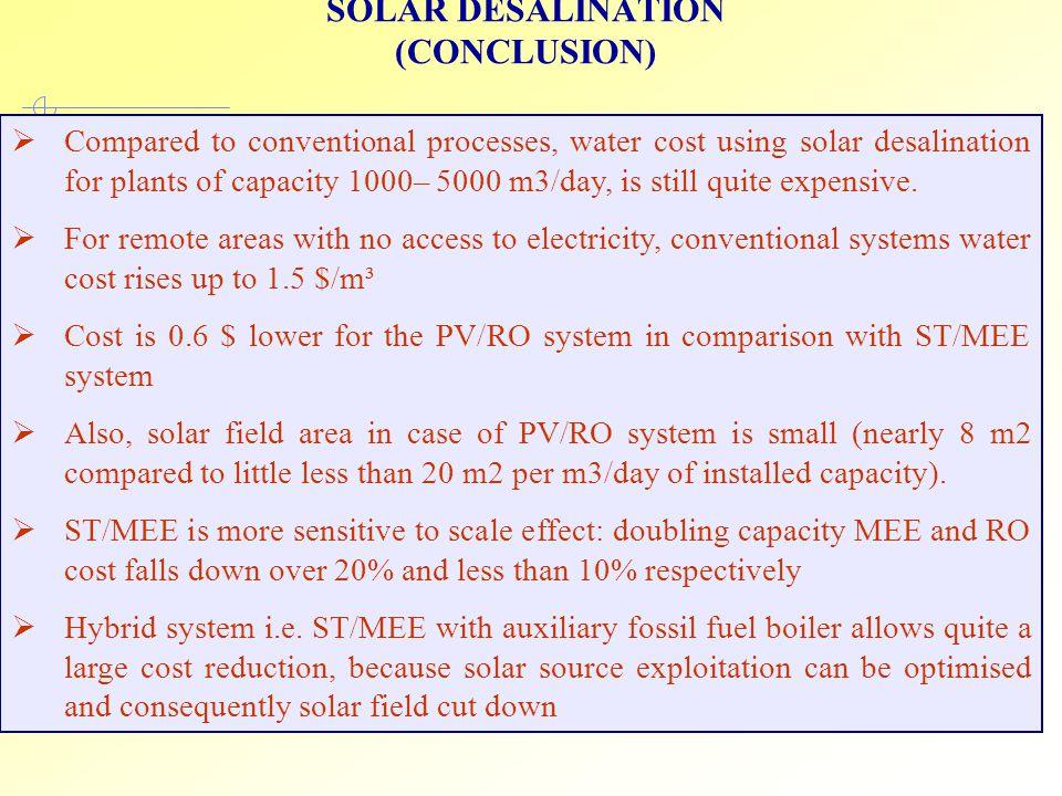SOLAR DESALINATION (CONCLUSION)