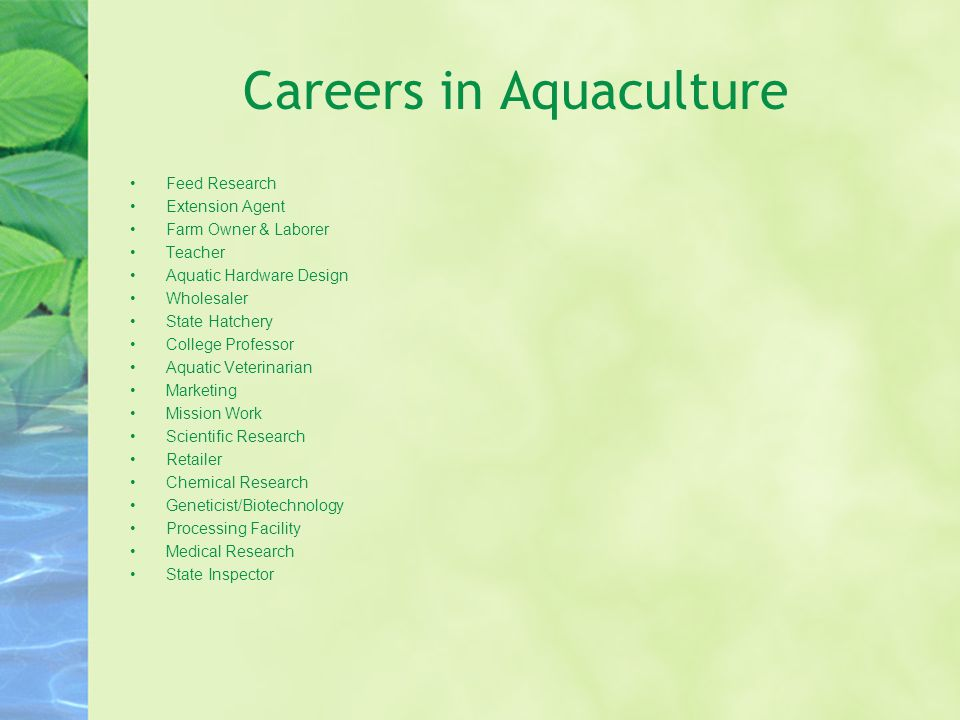 Careers in Aquaculture