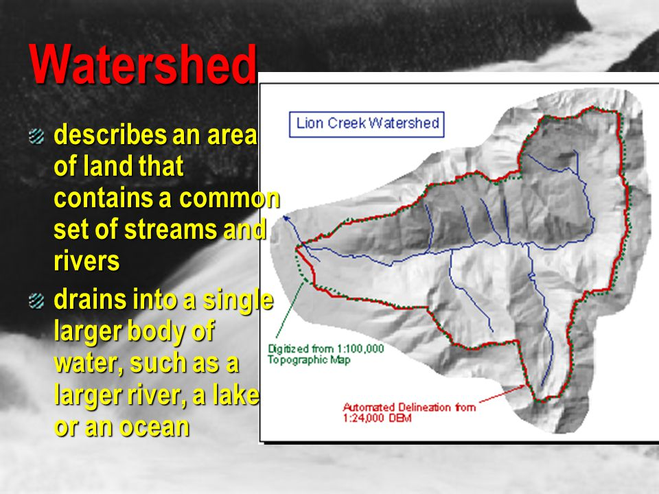 Watershed describes an area of land that contains a common set of streams and rivers.