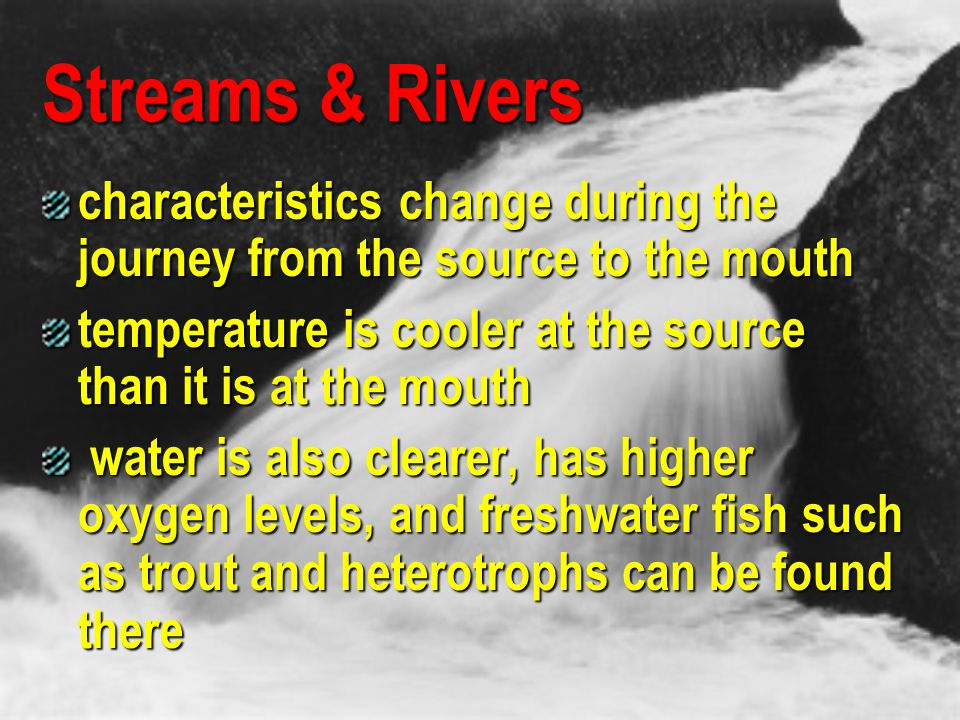 Streams & Rivers characteristics change during the journey from the source to the mouth. temperature is cooler at the source than it is at the mouth.