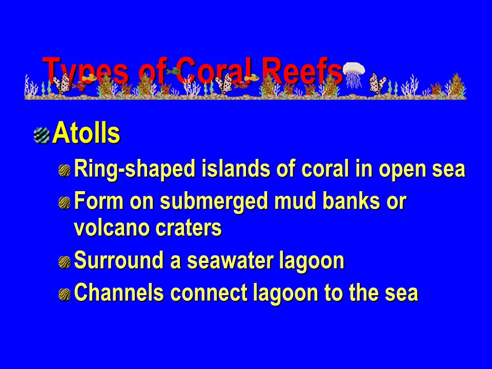 Types of Coral Reefs Atolls Ring-shaped islands of coral in open sea