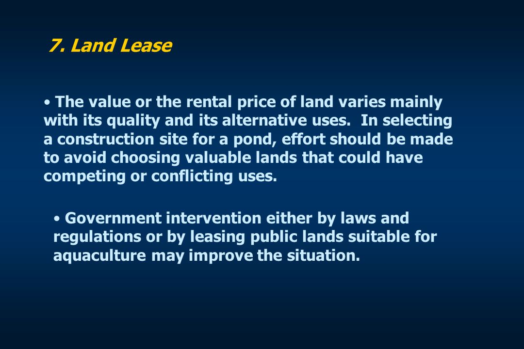 7. Land Lease