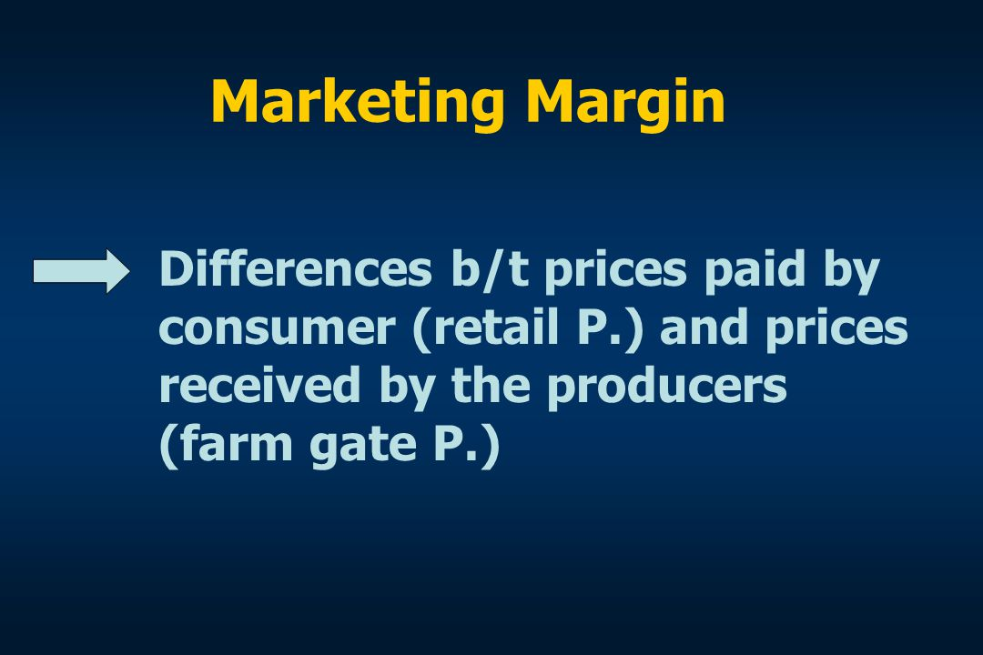 Marketing Margin Differences b/t prices paid by consumer (retail P.) and prices received by the producers (farm gate P.)