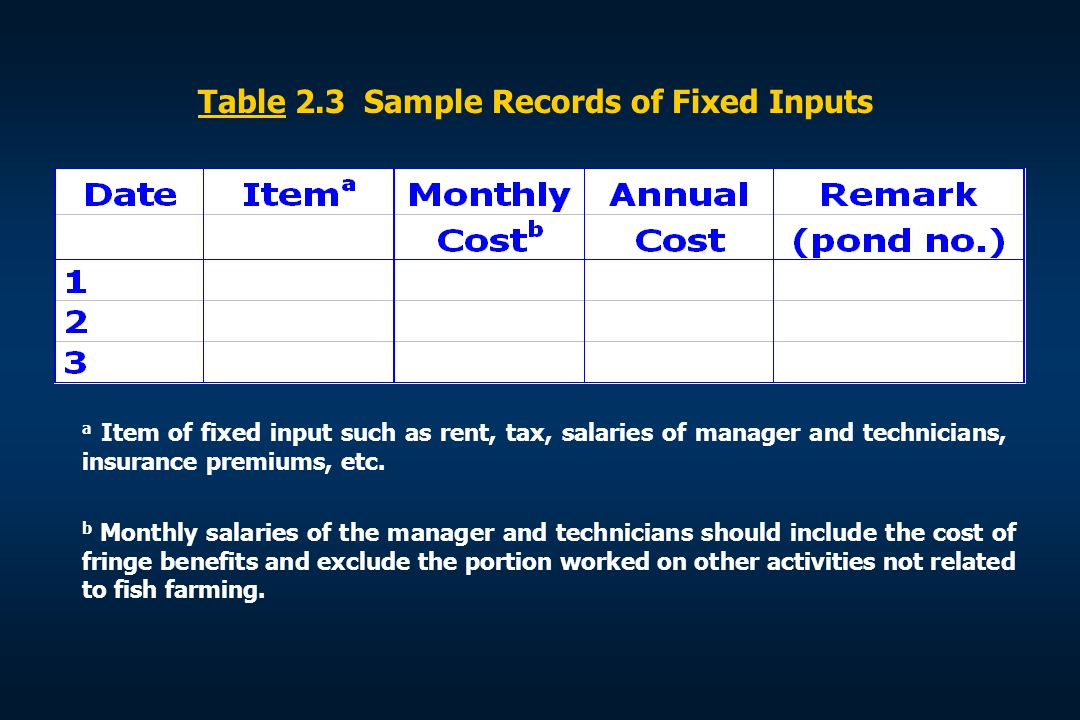 Table 2.3 Sample Records of Fixed Inputs