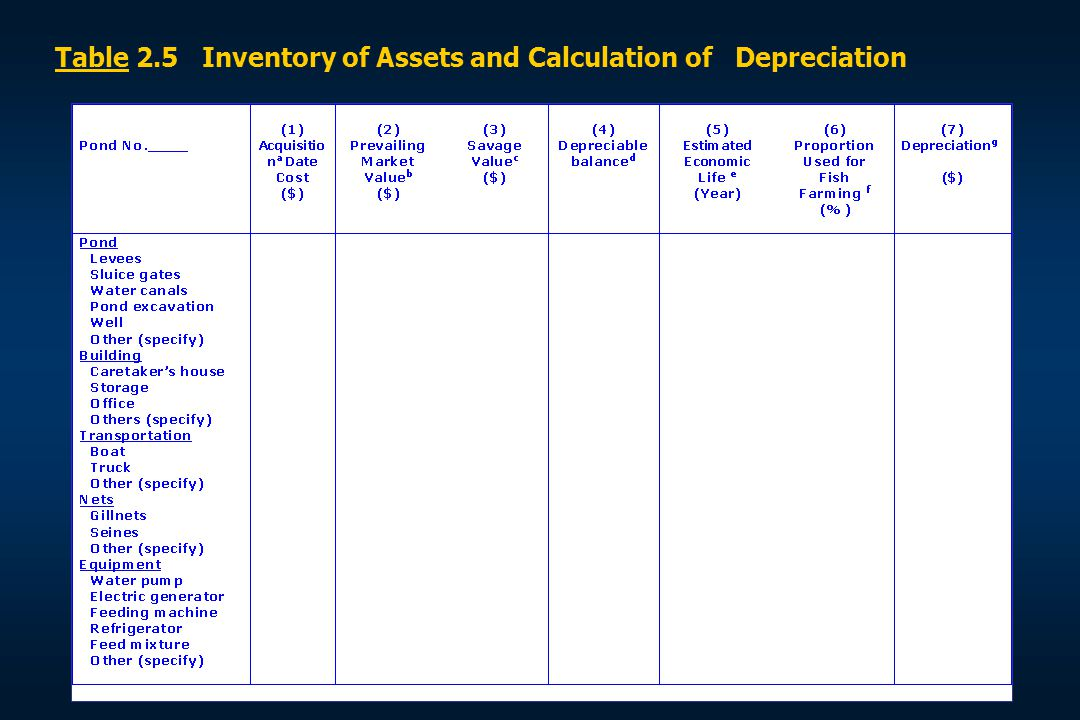 Table 2.5 Inventory of Assets and Calculation of Depreciation