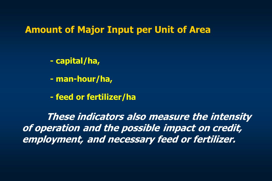 Amount of Major Input per Unit of Area
