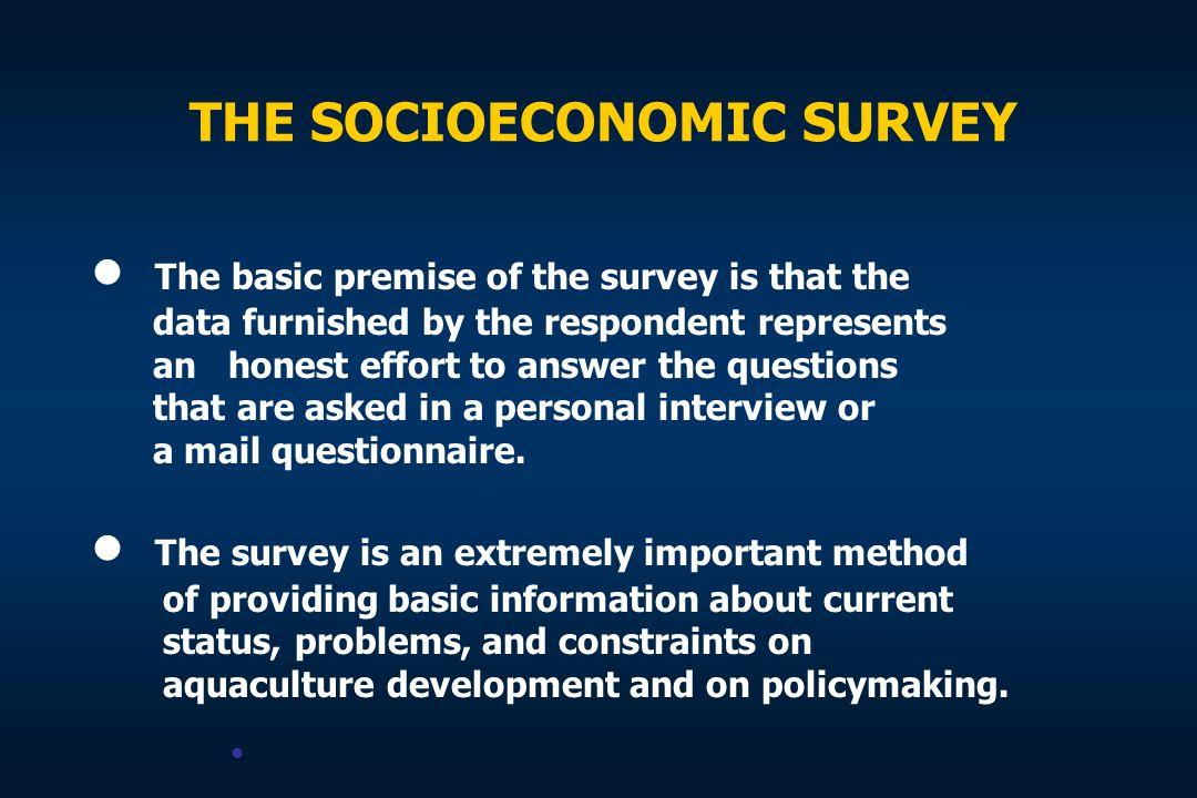 THE SOCIOECONOMIC SURVEY