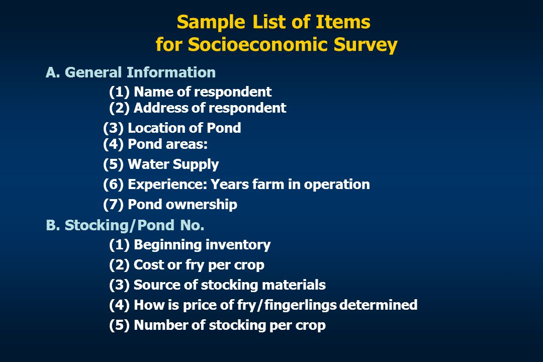 Sample List of Items for Socioeconomic Survey