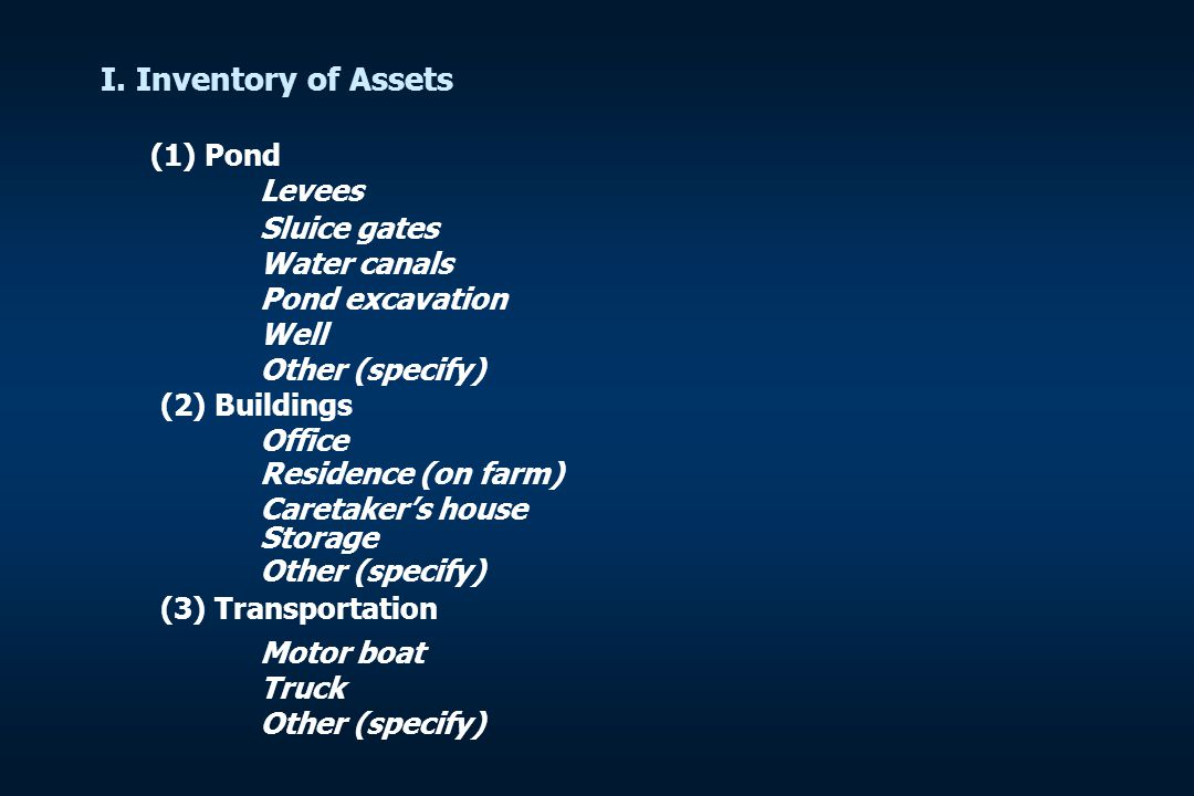 I. Inventory of Assets (1) Pond Levees Sluice gates Water canals