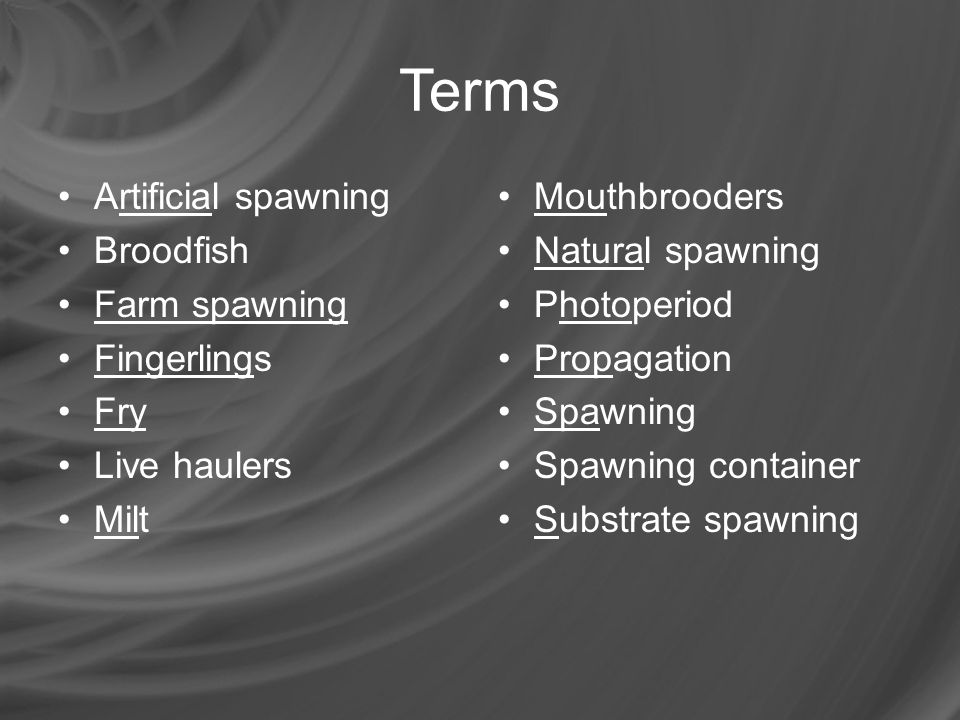 Terms Artificial spawning Broodfish Farm spawning Fingerlings Fry