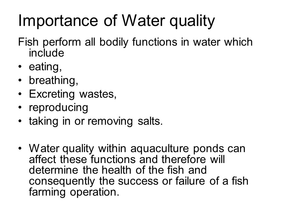 Importance of Water quality