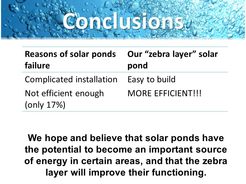Conclusions Reasons of solar ponds failure